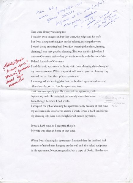 Elisa Caldana, In Another Country (script, page 1), 2013